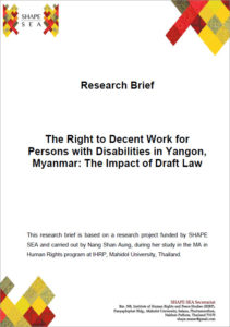 The Rights to Decent Work for Persons with Disabilities in Yangon, Myanmar